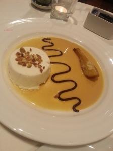 Semifreddo di Lino (Chef Lino's Signature Almond Parfait with Toasted 'Noto' Almond Sauce)